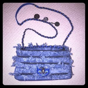 Handbags - Fringe denim flap bag